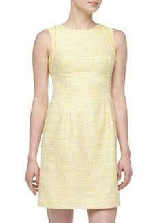 Kay Unger New York Metallic Tweed Fringe-Detailed Dress, Yellow