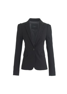 Puff-sleeve blazer in stretchy cotton