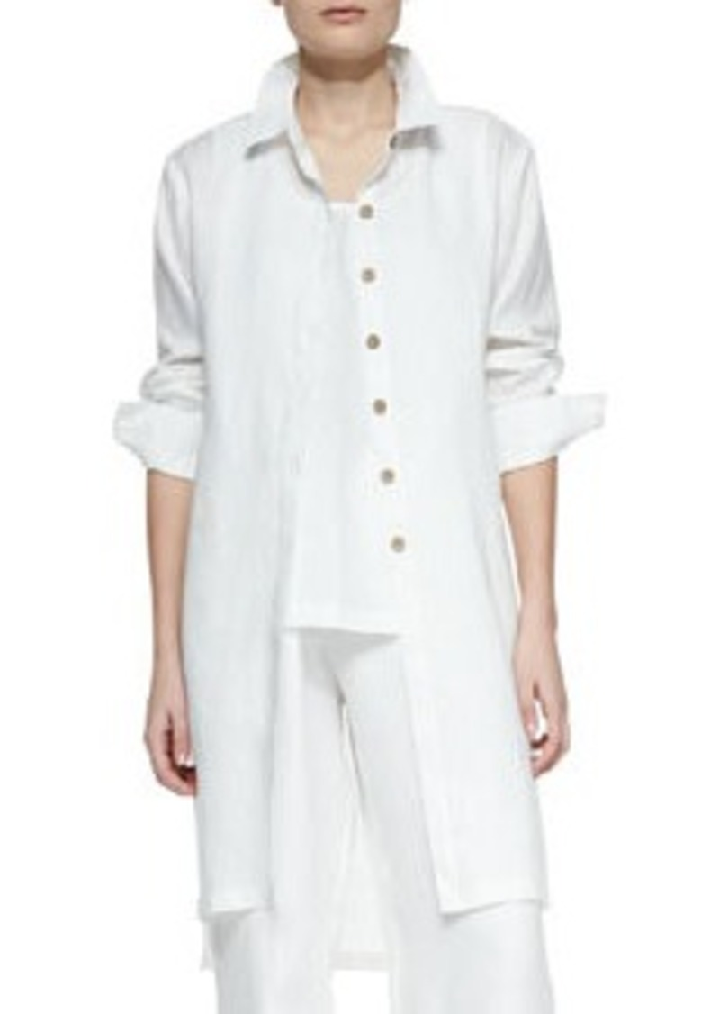 Go Silk Long-Sleeve Linen Duster, Petite