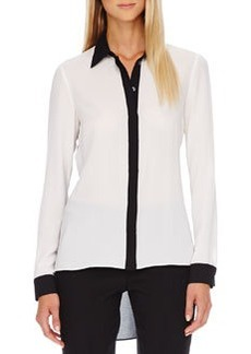 Michael Kors Two-Tone Hi-Lo Blouse