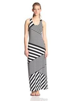 Calvin Klein Women's Sleeveless Diaganol-Striped Maxi Dress