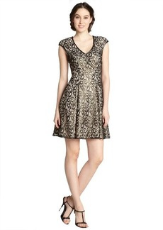 A.B.S. by Allen Schwartz black metallic lace cap sleeve dress