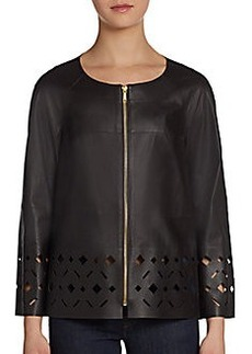 Lafayette 148 New York Laser-Cut Leather Topper Jacket
