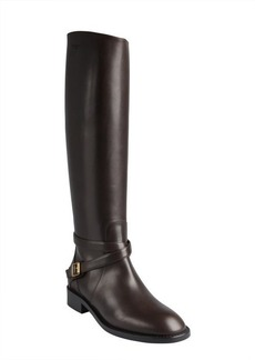 Saint Laurent chocolate leather buckled strap slip-on riding boots