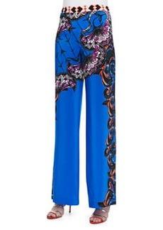 Etro Silk Largo Printed Wide-Leg Pants, Navy