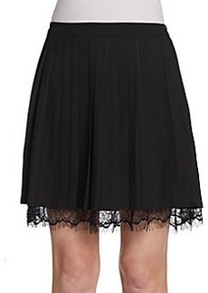 Saks Fifth Avenue RED Lace-Hem Accordion-Pleated Skirt