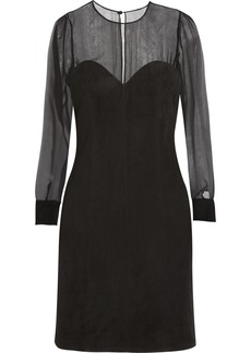 Saint Laurent Suede and silk-chiffon dress