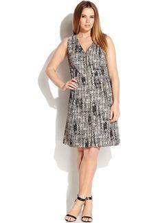 Calvin Klein Plus Size Zip-Front Printed Sleeveless Dress