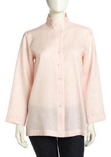 Go Silk Long-Sleeve Funnel Flowy Linen Tunic, Soft Pink