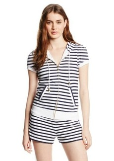 Juicy Couture Women's Short Sleeve Micro Terry Stripe Jacket
