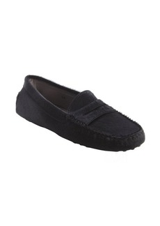 Tod's black moc penny loafers