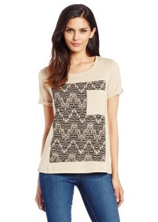 Democracy Women's Short Sleeve Knit Woven T-Shirt with Front Pocket