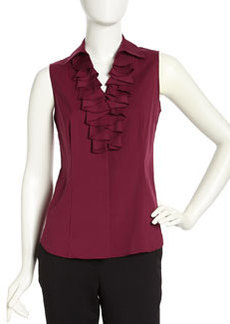 Lafayette 148 New York Sleeveless Ruffle Button-Down Blouse, Loganberry