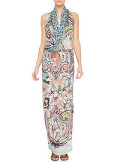 Etro Paisley & Metal Fringe Silk Gown, Blue/Multi