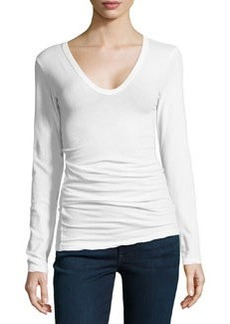 James Perse Long-Sleeve V-Neck Stretch-Knit Tee, White