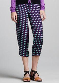Marni Grid-Print Cropped Pants, Violet