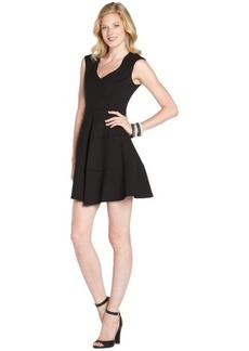 Nanette Lepore black stretch 'Pueblo' pleated v-neck dress