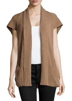 Lafayette 148 New York Cashmere-Blend Ribbed Cap-Sleeve Vest, Amaretto