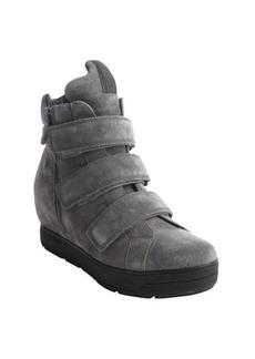 Prada grey suede wedge hi-top sneakers