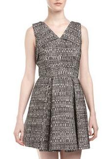 Robert Rodriguez Tweed Origami-Fold Dress, Ivory