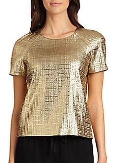 DKNY Short-Sleeve Metallic Top
