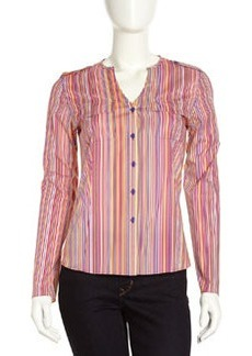 Lafayette 148 New York Gabby Striped Blouse, Concord
