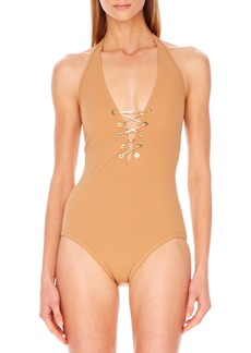 Michael Kors Lace-Up Plunge Maillot