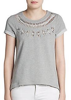 Design History Short-Sleeve Cutout Sweatshirt