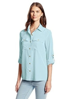 Jones New York Women's Petite Utility Pocket Shirt with Buttons