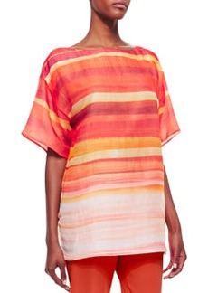 Lafayette 148 New York Jaelyn Ombre Striped Top, Begonia/Multicolor 634