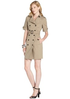 Burberry chino khaki stretch cotton woven 'Eva' trench dress