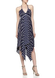 T Bags Striped Handkerchief Maxi Dress, Navy/White