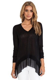 Central Park West Sao Paulo Sheer Panel Pullover in Black