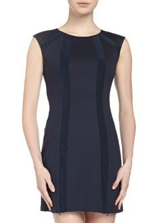 Nanette Lepore Sleeveless Round Striped Dress, Navy