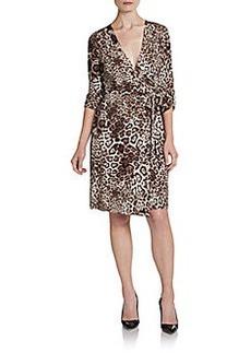 Calvin Klein Jaguar-Print Wrap Dress