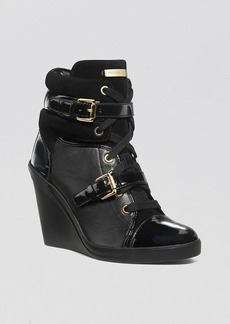MICHAEL Michael Kors Lace Up High Top Wedge Sneakers - Skid