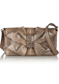 Valentino Bow-embellished watersnake shoulder bag