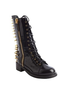 Giuseppe Zanotti black leather spike detail side zip lace up boots