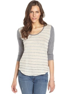 C & C California oatmeal and grey cotton raglan sleeve sweater