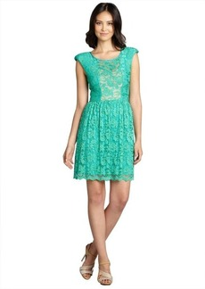 A.B.S. by Allen Schwartz jade green lace overlay sheer neckline stretch knit dress