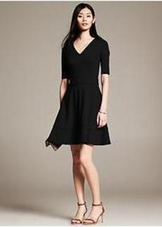 Piped Ponte Fit-and-Flare Dress
