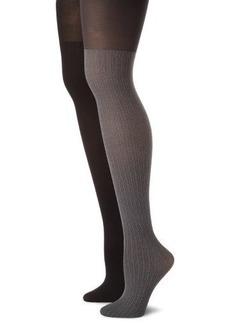 Calvin Klein Women's 2 Pack Texture Opaque Tights