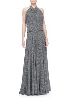 Derek Lam Gathered Silk Chiffon Gown, Black/White