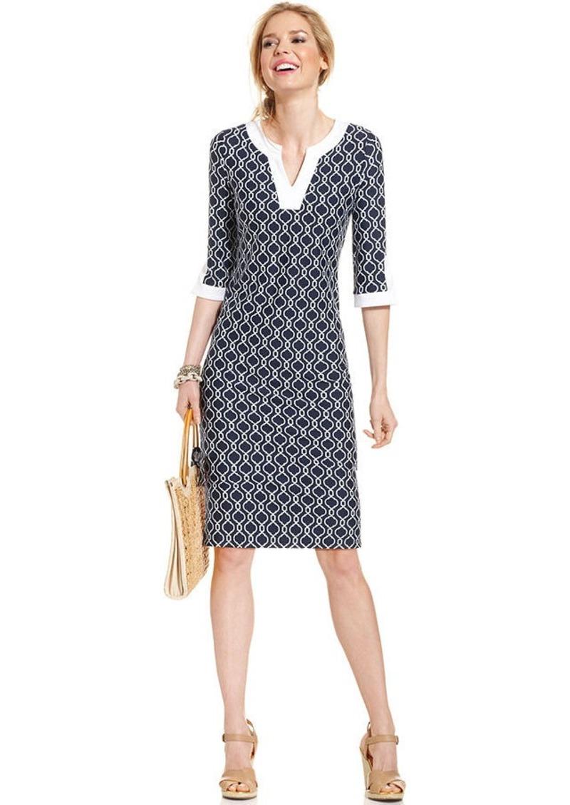 Charter Club Petite Three-Quarter-Sleeve Printed Colorblocked Dress
