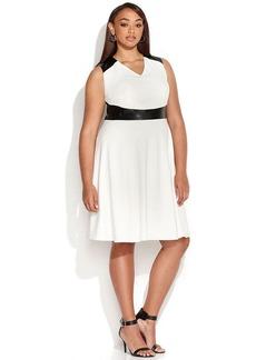 Calvin Klein Plus Size Faux-Leather Colorblock Dress