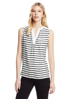 Calvin Klein Women's Stripe Mixed Media Top