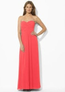 Shirred Strapless Gown