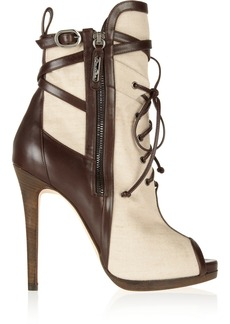 Oscar de la Renta Mauritania canvas and leather ankle boots