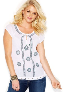 Lucky Brand Embroidered Keyhole Top