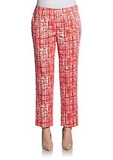 Lafayette 148 New York Brushstroke-Print Cropped Pants